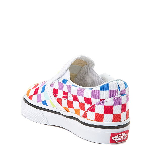 alternate image alternate view Vans Slip On Rainbow Chex Skate Shoe - Baby / Toddler - ToddlerALT2