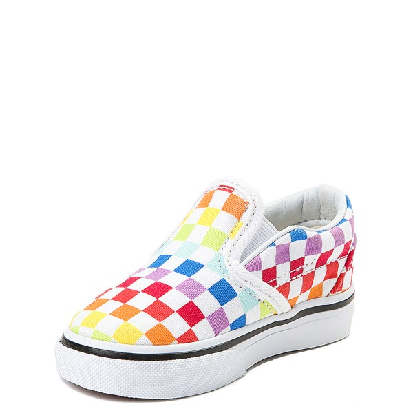 alternate image alternate view Vans Slip On Rainbow Chex Skate Shoe - Baby / Toddler - ToddlerALT3