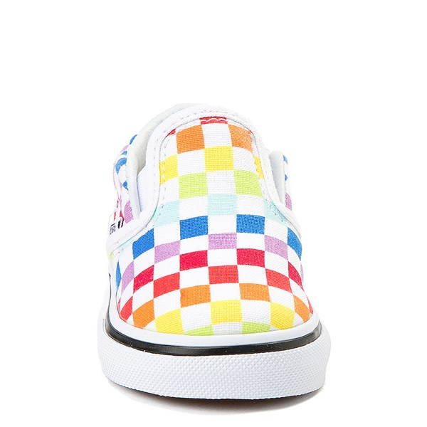 alternate image alternate view Vans Slip On Rainbow Chex Skate Shoe - Baby / Toddler - ToddlerALT4