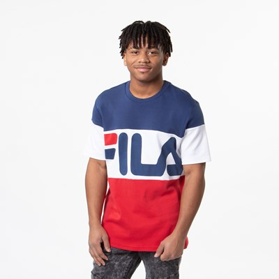 Main view of Mens Fila Vialli Tee - White / Navy / Red