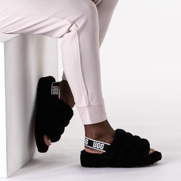 alternate image alternate view Womens UGG® Fluff Yeah Slide Sandal - BlackB-LIFESTYLE1