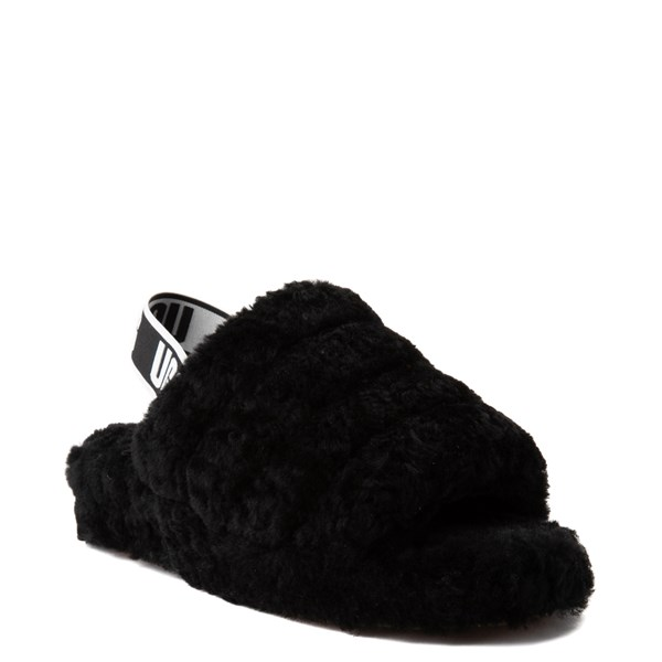 alternate image alternate view Womens UGG® Fluff Yeah Slide Sandal - BlackALT1
