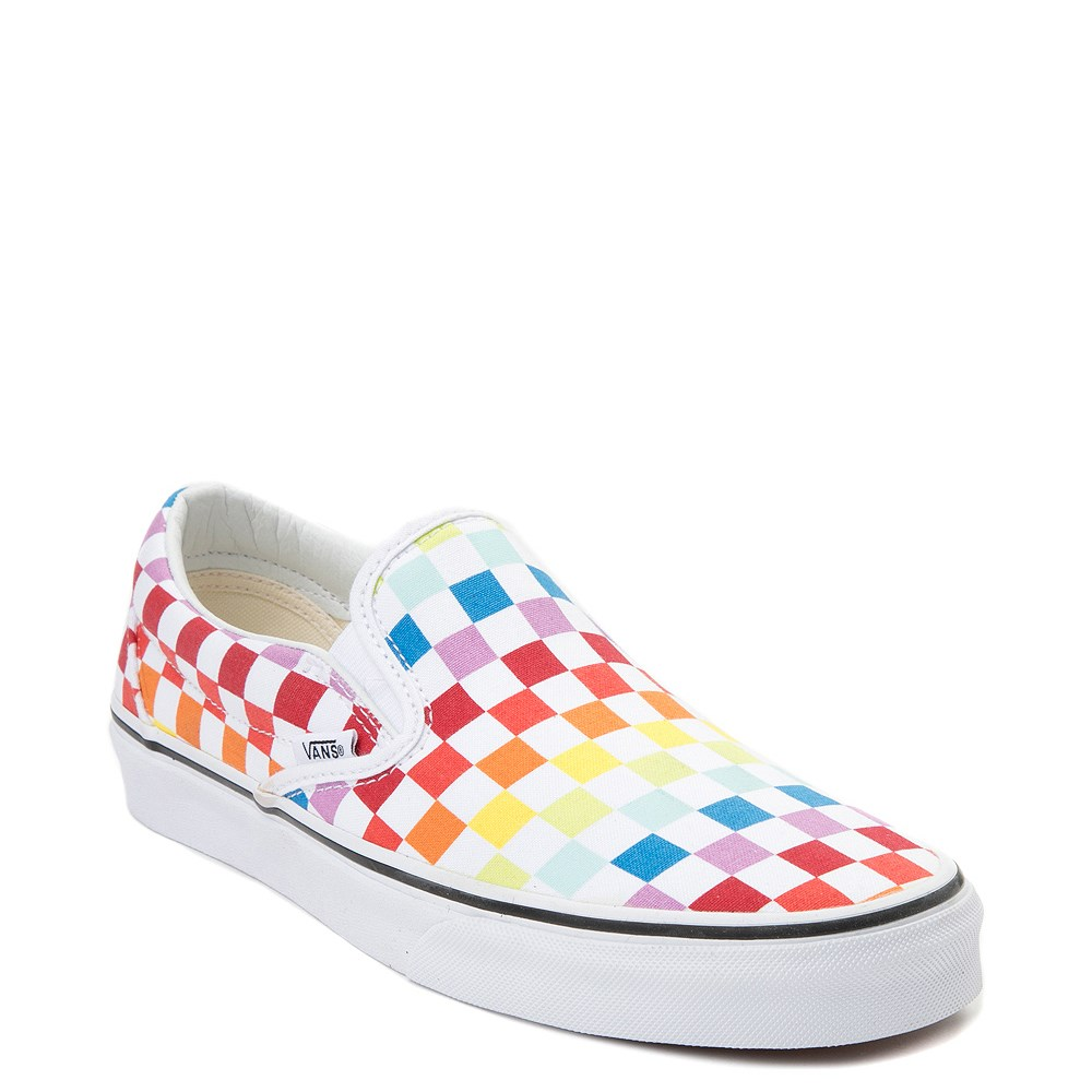 94207e0e3b65 Vans Slip On Rainbow Chex Skate Shoe