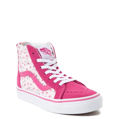 Alternate view of Youth Vans Sk8 Hi Zip Ditsy Kitty Skate Shoe - Little Kid