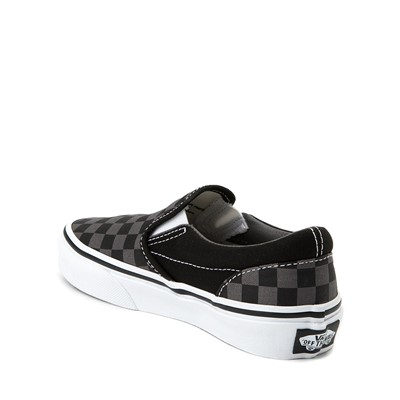 Alternate view of Vans Slip On Checkerboard Skate Shoe - Little Kid / Big Kid - Black / Grey