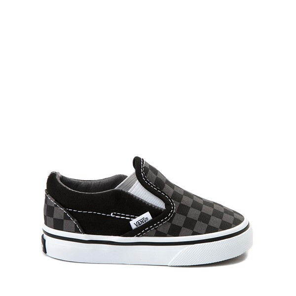 Vans Slip On Checkerboard Skate Shoe - Baby / Toddler - Black / Grey