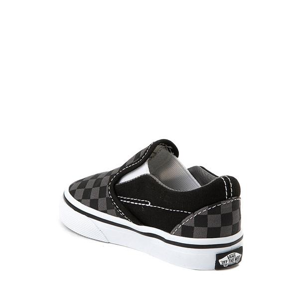 alternate view Vans Slip On Checkerboard Skate Shoe - Baby / Toddler - Black / GreyALT1