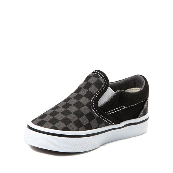 alternate view Vans Slip On Checkerboard Skate Shoe - Baby / Toddler - Black / GreyALT2
