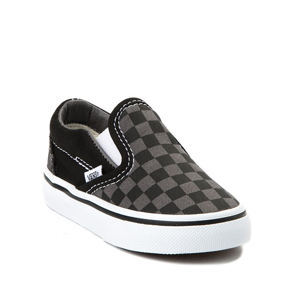 alternate view Vans Slip On Checkerboard Skate Shoe - Baby / Toddler - Black / GreyALT5