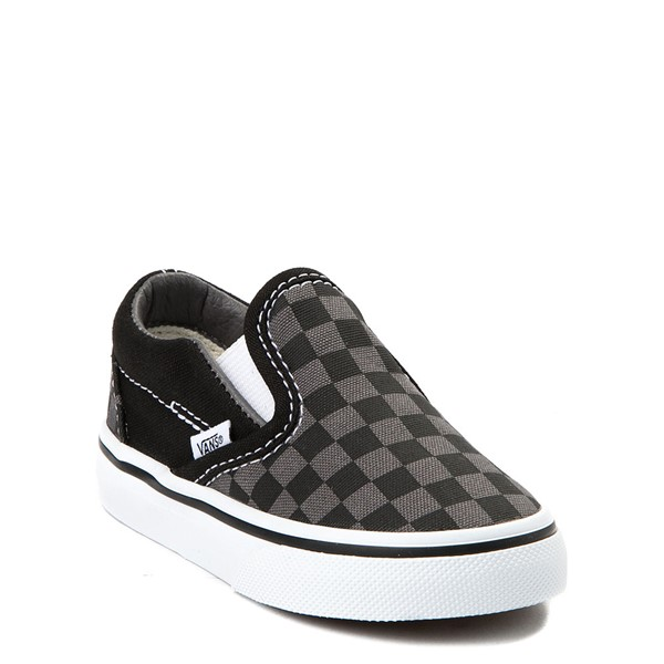 alternate image alternate view Vans Slip On Checkerboard Skate Shoe - Baby / Toddler - Black / GreyALT1