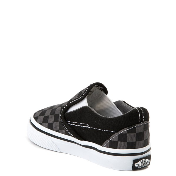 alternate image alternate view Vans Slip On Checkerboard Skate Shoe - Baby / Toddler - Black / GreyALT2