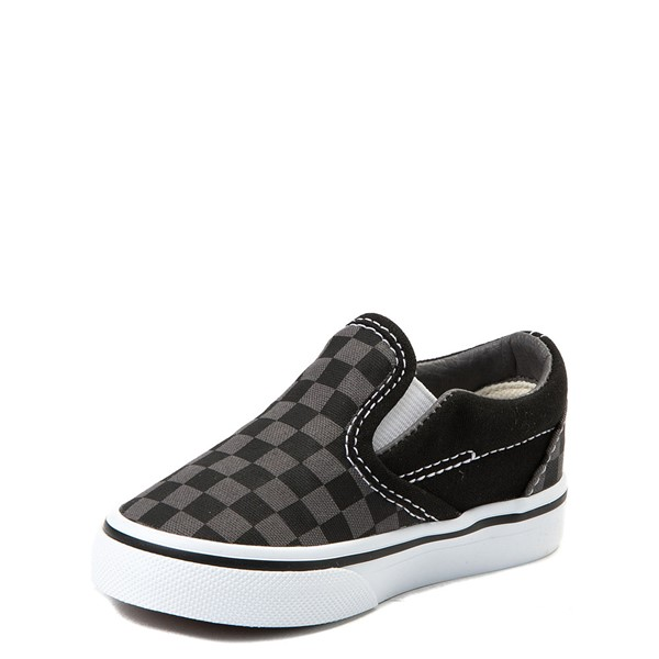 alternate image alternate view Vans Slip On Checkerboard Skate Shoe - Baby / Toddler - Black / GreyALT3