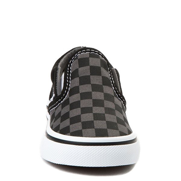 alternate image alternate view Vans Slip On Checkerboard Skate Shoe - Baby / Toddler - Black / GreyALT4