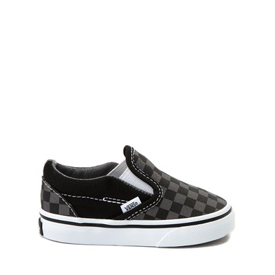 Main view of Vans Slip On Checkerboard Skate Shoe - Baby / Toddler - Black / Grey