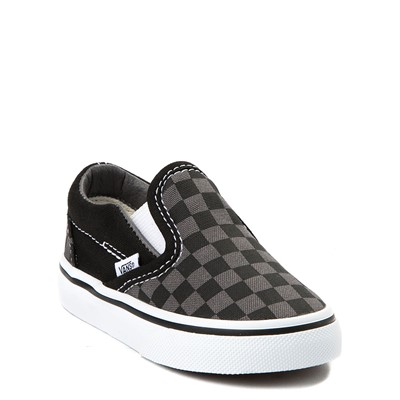 Alternate view of Vans Slip On Checkerboard Skate Shoe - Baby / Toddler - Black / Grey