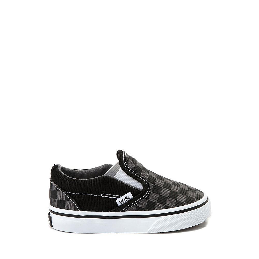 Vans Slip On Checkerboard Skate Shoe - Baby / Toddler - Black / Grey