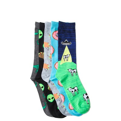 Alternate view of Mens Animals and Aliens Crew Socks 5 Pack