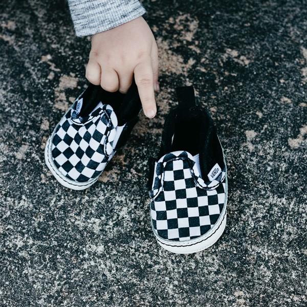 alternate view Vans Slip On V Checkerboard Skate Shoe - Baby - Black / WhiteALT1B