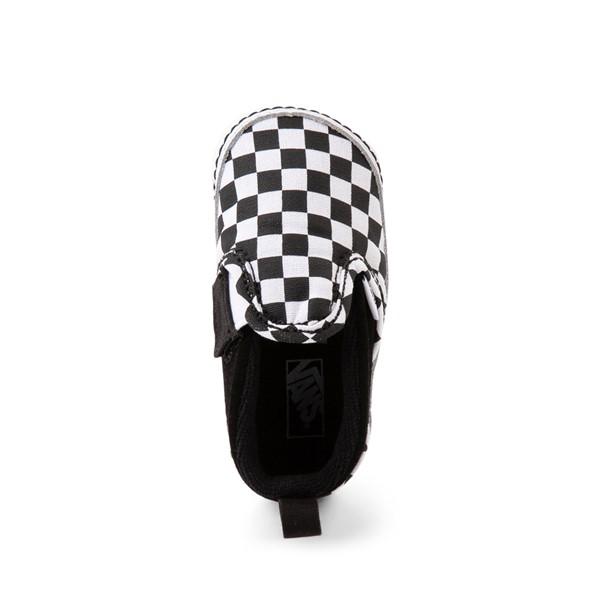 alternate view Vans Slip On V Checkerboard Skate Shoe - Baby - Black / WhiteALT2