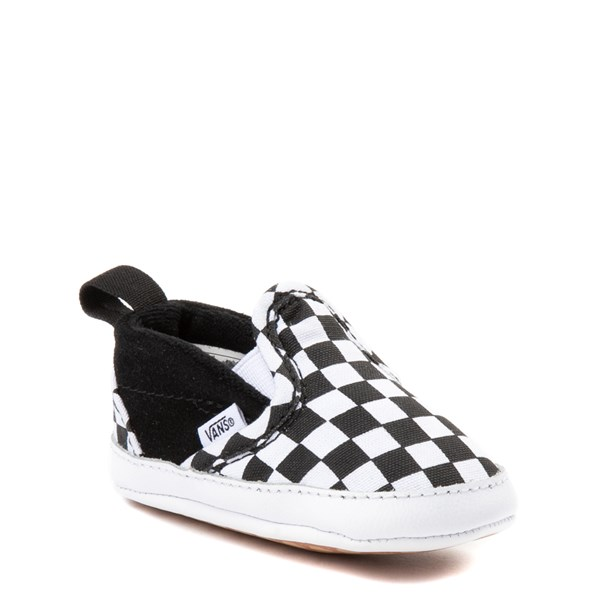 alternate image alternate view Vans Slip On V Checkerboard Skate Shoe - Baby - Black / WhiteALT1