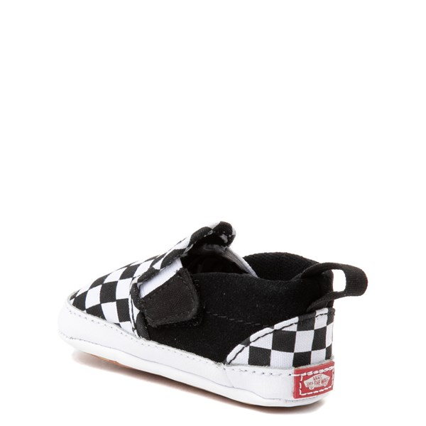 alternate image alternate view Vans Slip On V Checkerboard Skate Shoe - Baby - Black / WhiteALT2