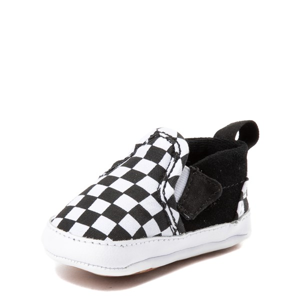 alternate image alternate view Vans Slip On V Checkerboard Skate Shoe - Baby - Black / WhiteALT3