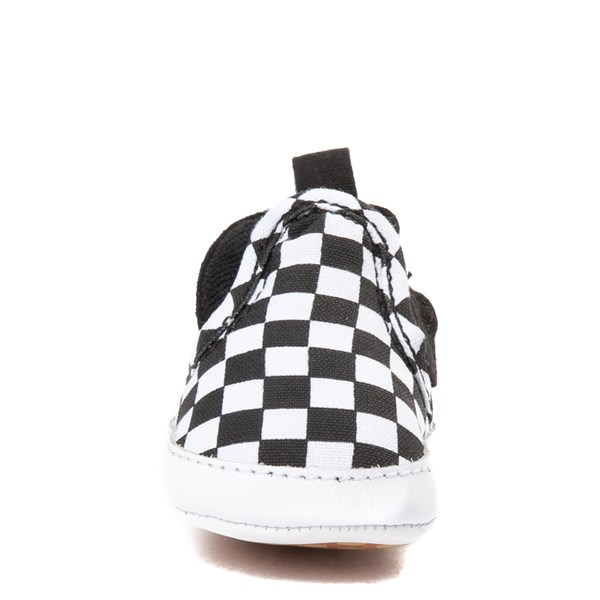 alternate image alternate view Vans Slip On V Checkerboard Skate Shoe - Baby - Black / WhiteALT4