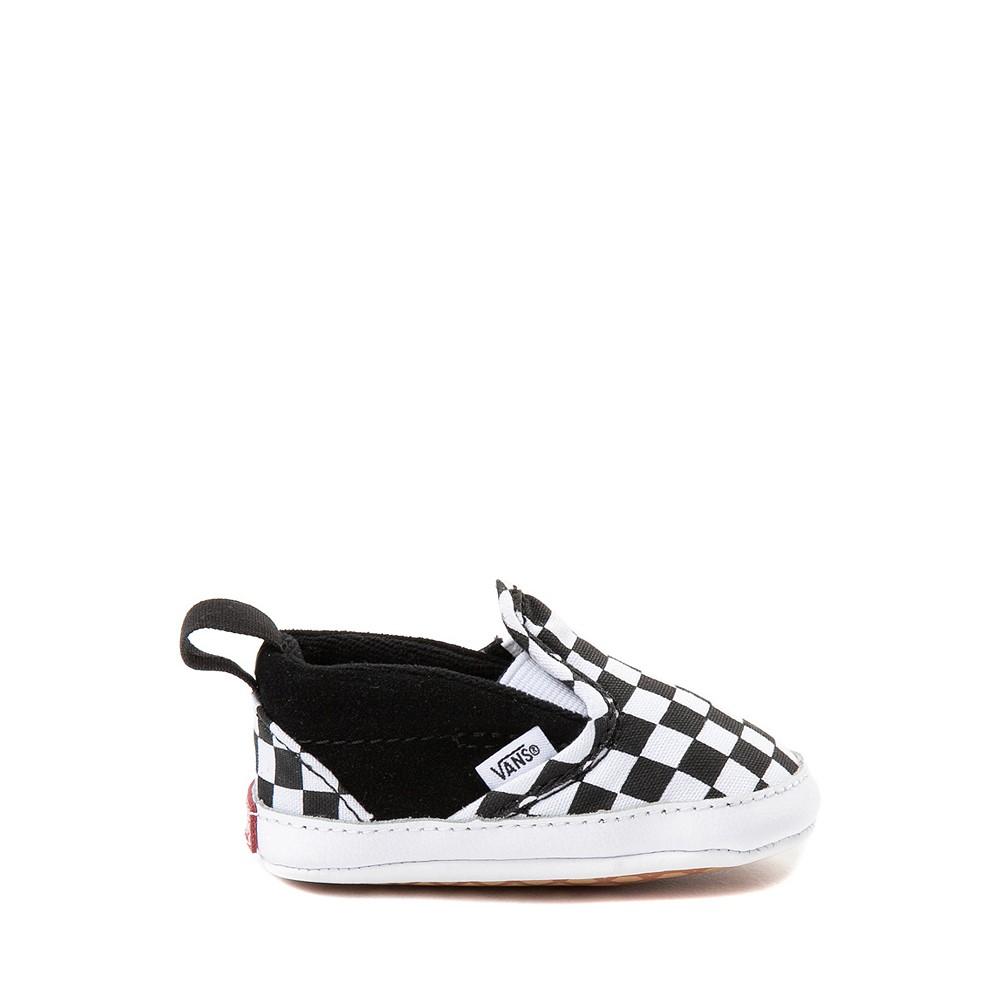 Vans Slip On V Checkerboard Skate Shoe - Baby - Black / White