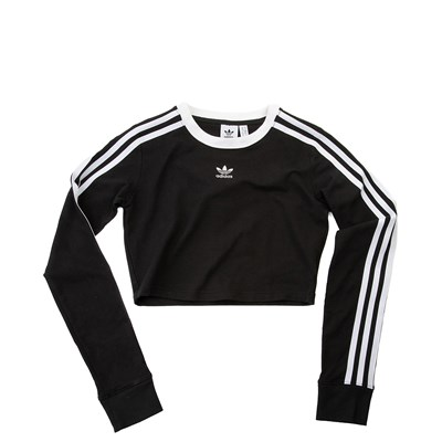 Main view of Womens adidas 3-Stripes Cropped Long Sleeve Tee