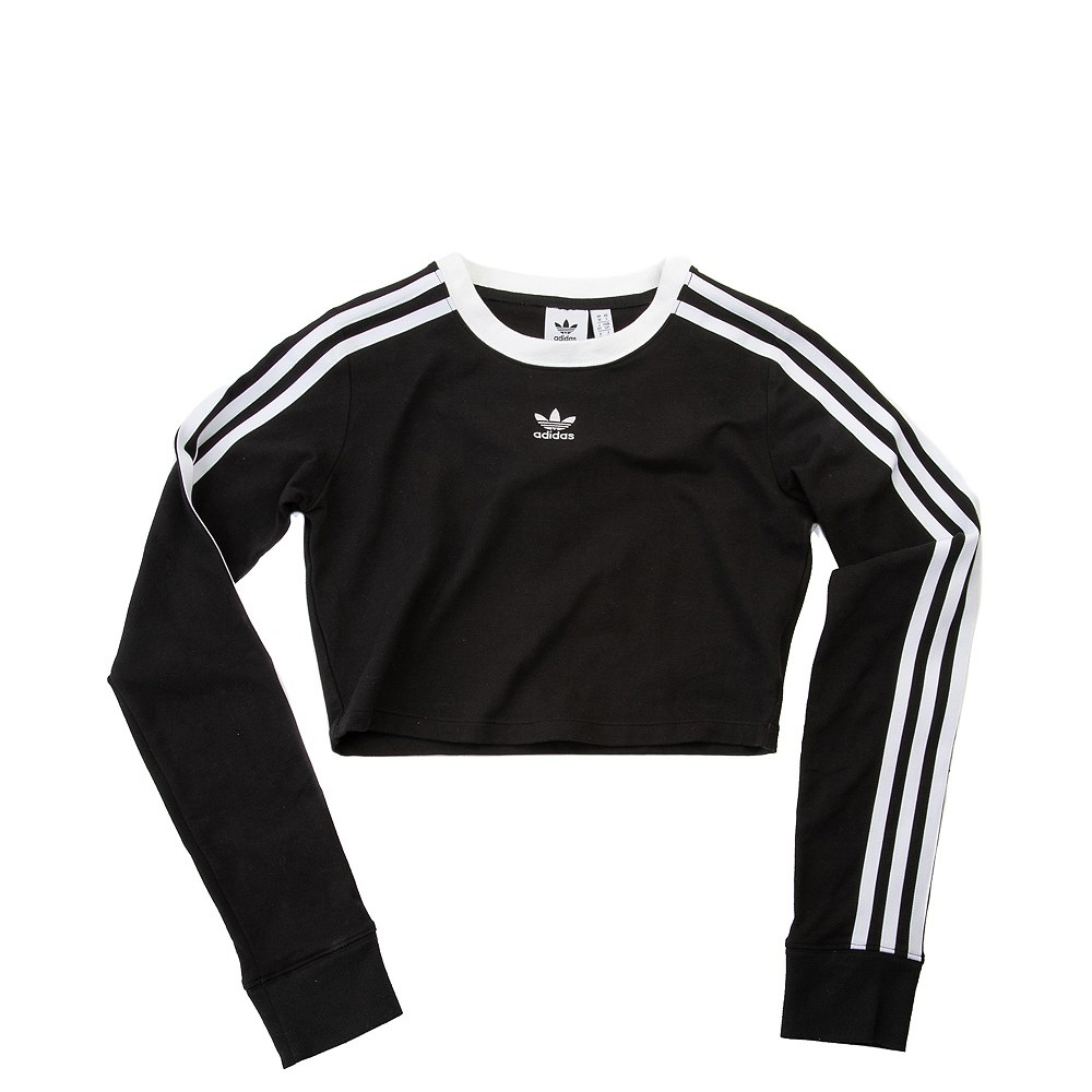 Womens adidas 3-Stripes Cropped Long Sleeve Tee