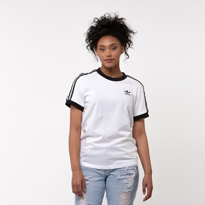Main view of Womens adidas 3-Stripes Ringer Tee