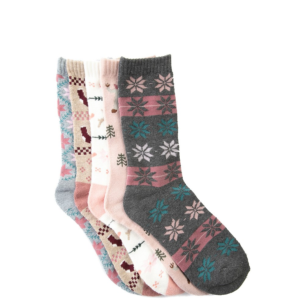 Womens Winter Sweater Crew Socks 5 Pack