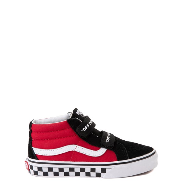 Main view of Vans Sk8 Mid Reissue V Logo Pop Checkerboard Skate Shoe - Little Kid - Black / Red