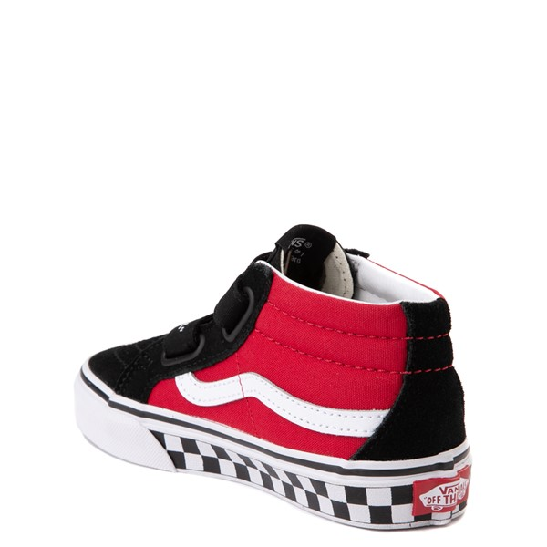 alternate image alternate view Vans Sk8 Mid Reissue V Logo Pop Checkerboard Skate Shoe - Little Kid - Black / RedALT1
