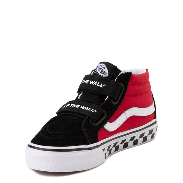 alternate image alternate view Vans Sk8 Mid Reissue V Logo Pop Checkerboard Skate Shoe - Little Kid - Black / RedALT2