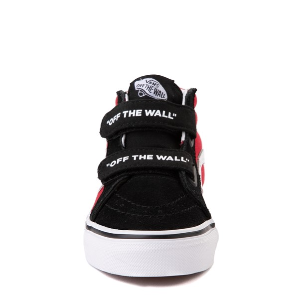 alternate image alternate view Vans Sk8 Mid Reissue V Logo Pop Checkerboard Skate Shoe - Little Kid - Black / RedALT4
