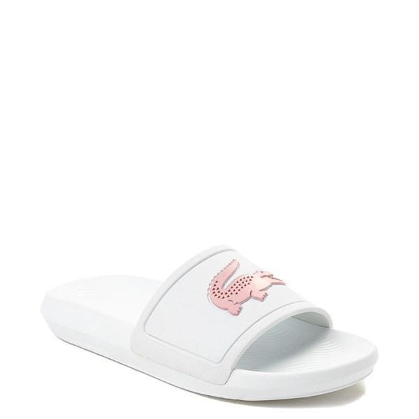alternate image alternate view Womens Lacoste Croco Slide Sandal - White / PinkALT1