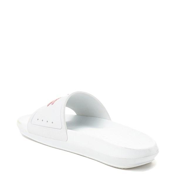 alternate image alternate view Womens Lacoste Croco Slide Sandal - White / PinkALT2