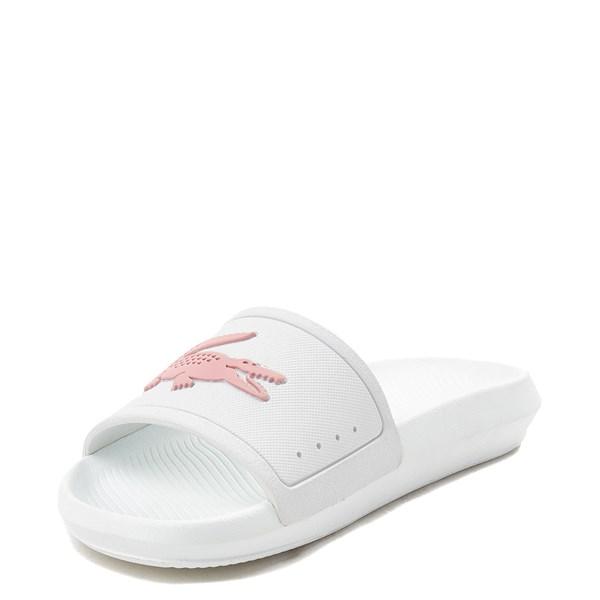 alternate image alternate view Womens Lacoste Croco Slide Sandal - White / PinkALT3