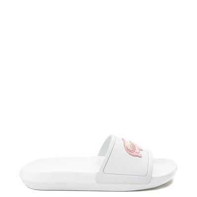 Main view of Womens Lacoste Croco Slide Sandal - White / Pink