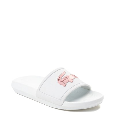 Alternate view of Womens Lacoste Croco Slide Sandal - White / Pink