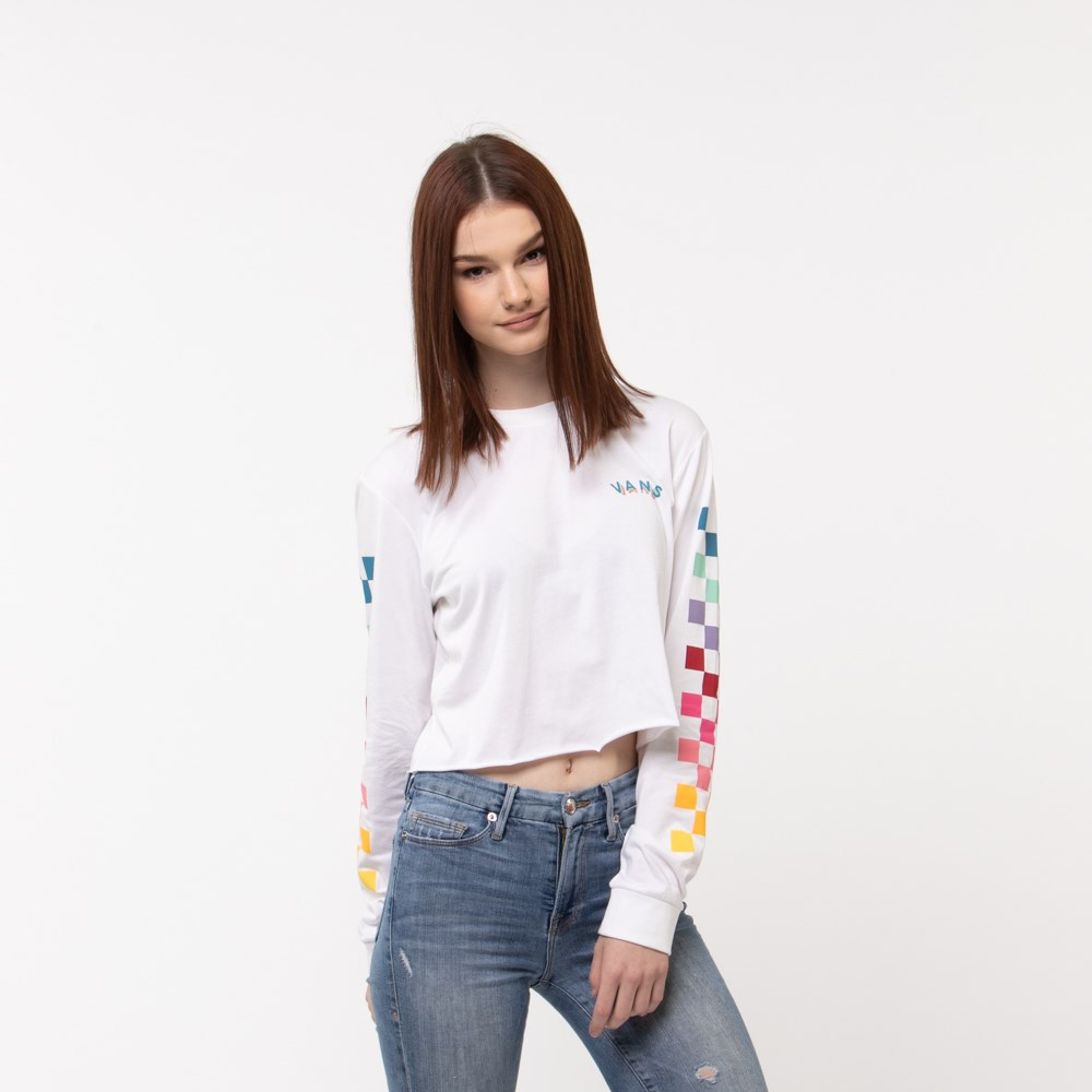 Womens Vans Chex Cropped Long Sleeve Tee