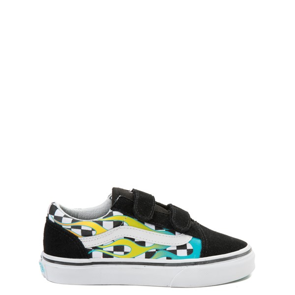 Vans Old Skool V Chex Glow Flame Skate Shoe - Little Kid / Big Kid