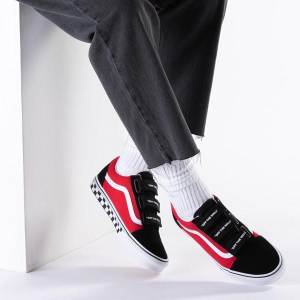 alternate view Vans Old Skool V Logo Pop Skate Shoe - Red / BlackB-LIFESTYLE1