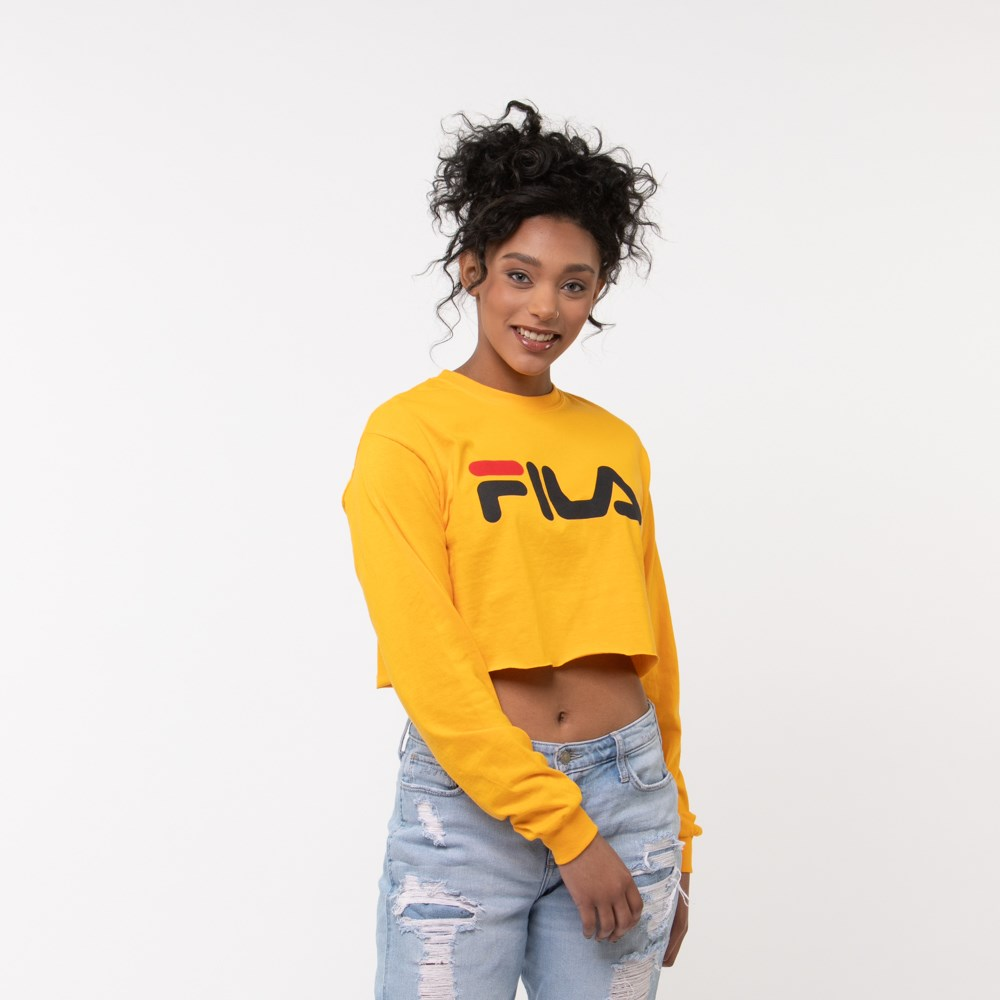 Womens Fila Cropped Long Sleeve Tee