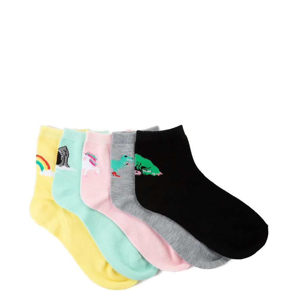Womens Graphic Quarter Socks 5 Pack - Multi
