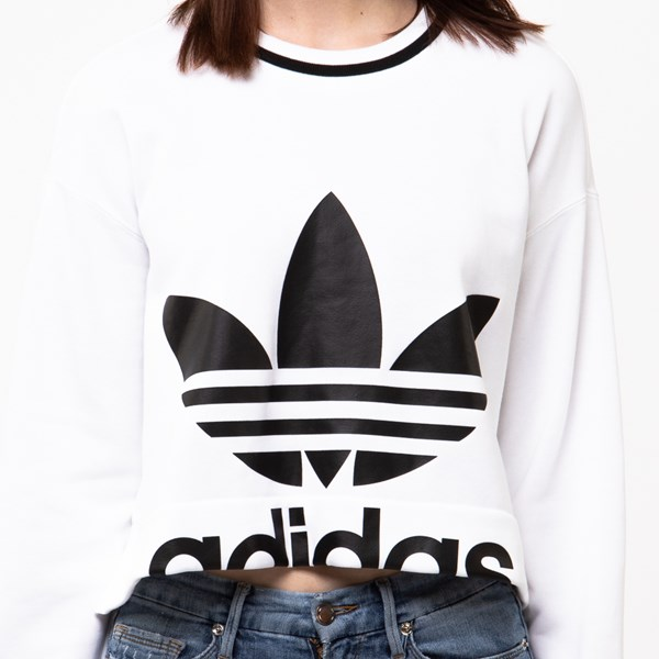 alternate image alternate view Womens adidas Trefoil Cropped SweaterALT4