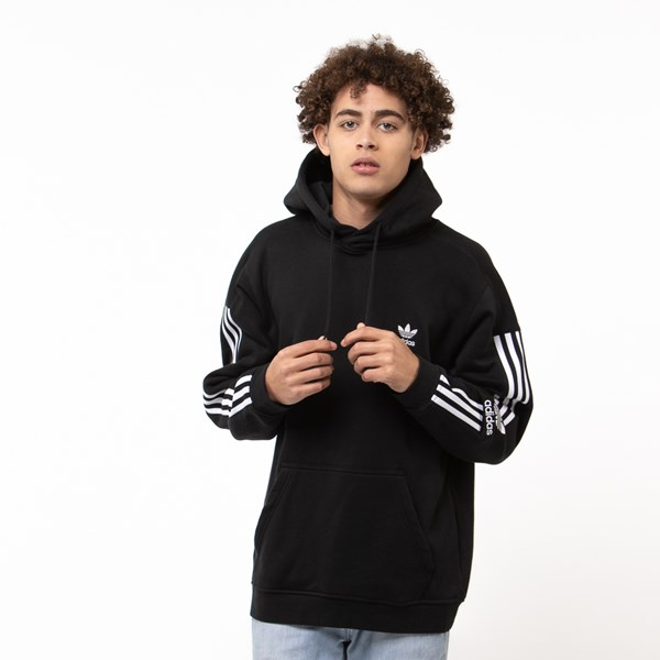 Mens adidas 3 Stripe Lock Up Hoodie
