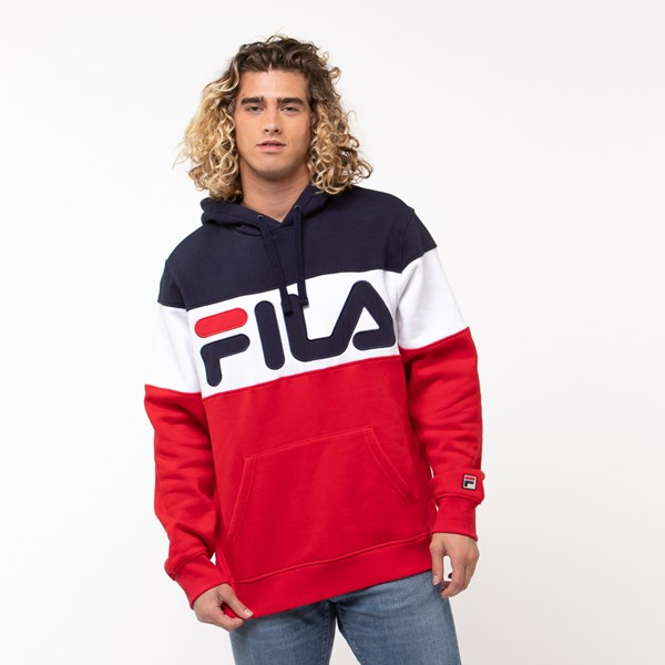 Main view of Mens Fila Flamino Hoodie - White / Navy / Red