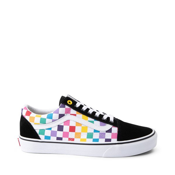 Main view of Vans Old Skool Rainbow Checkerboard Skate Shoe - Black / Multi